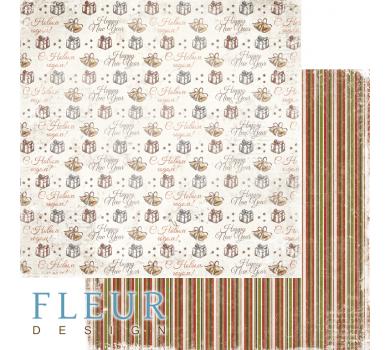 Двусторонний лист бумаги для скрапбукинга Подарки, коллекция Зима винтажная, FD1006009