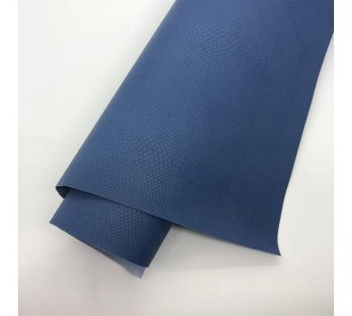 Кожзам (экокожа) на полиуретановой основе с тиснением под питона, цвет синий, арт. SC420051