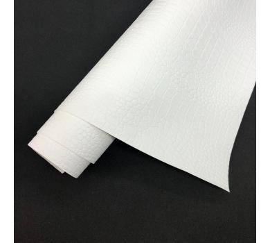 Кожзам (экокожа) на полиуретановой основе с тиснением под крокодила, цвет белый, арт. SC420061