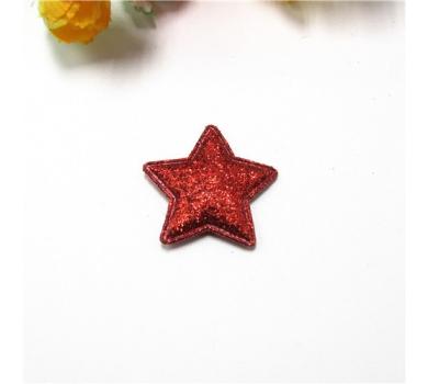 Патч (нашивка) глиттерный Звезда, цвет красный, 2.5 см, арт. 172724