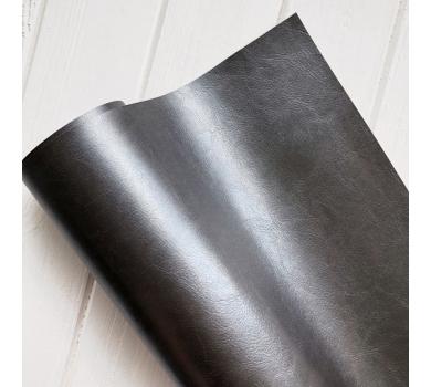 Кожзам (экокожа) на полиуретановой основе глянцевый черный с тиснением, арт. 271403