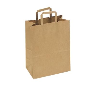 Пакет крафт без печати, плоская ручка, 22 х 9 х 32 см, 70 г/м2, 1247797