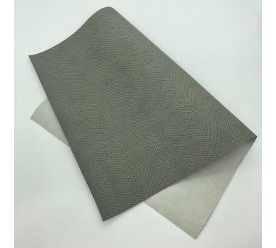 Кожзам (экокожа) на полиуретановой основе с тиснением под питона, цвет серый, арт. SC420052