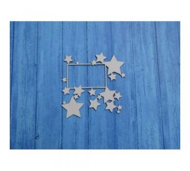 Чипборд Рамка со звездами, 107х107 мм, 0140