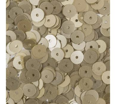 Пайетки плоские круглые с матовым эффектом, цвет Светло-золотой, 6 мм, 10 гр, ZF-26-039