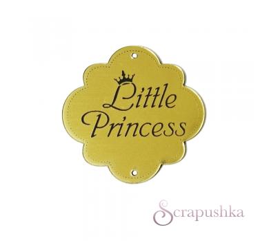Зеркальная бирка круглая Little Princess, цвет золото, KA111431