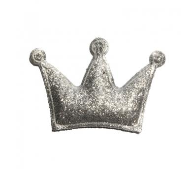Патч (нашивка) глиттерный Корона, цвет под серебро, 5.5х3.7 см, арт. 190124