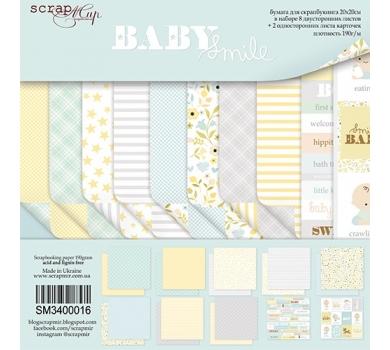 Набор бумаги для скрапбукинга Smile Baby, 20х20 см, 190 гр/м, 10 листов, SM3400016