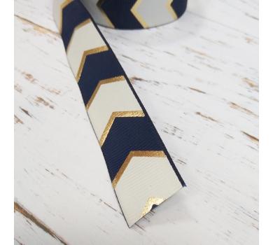 Лента репсовая темно-синий шеврон с золотом, ширина 2,5 см, 1м, 1107b