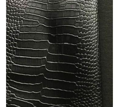 Кожзам с тиснением под рептилию (глянцевый), черный, арт. KA410815