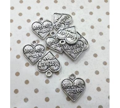 Подвеска металлическая Сердце мама, цвет серебро, 1,6x1,8 см, KA10131