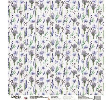 Лист бумаги для скрапбукинга Аромат лаванды, коллекция Однажды в Париже, арт. MD83276