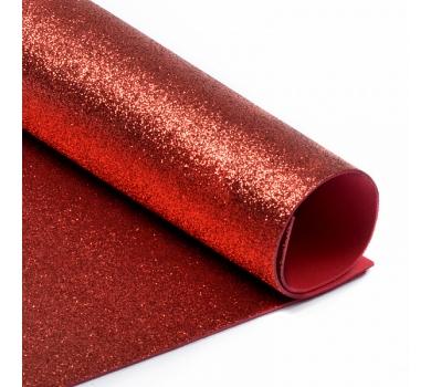 Глиттерный фоамиран красный, арт. H025