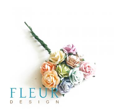 Мини-розочки микс Пастельных оттенков, размер цветка 1 см, 10 шт/упаковка FD3072426