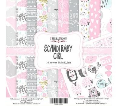Набор двусторонней бумаги Scandi Baby Girl, 30х30 см, 200 г/м, FDSP-01050