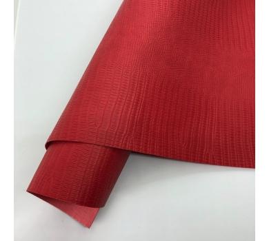 Кожзам (экокожа) на полиуретановой основе с тиснением под ящерицу, цвет красный, арт. SC420066