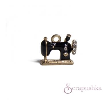 Подвеска металлическая Швейная машинка, цвет черный с золотым, KA100143