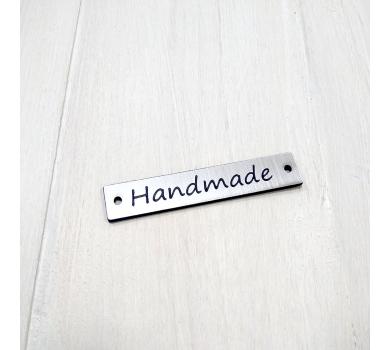 Зеркальная бирка Handmade, 11х6 мм, цвет cеребро, арт. 151501