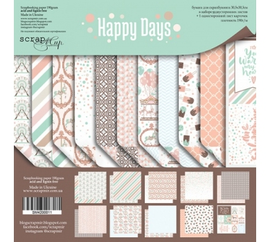 Набор двусторонней бумаги Happy Days, 30х30 см, 190 гр/м, 11 листов (ENG), SM4200011