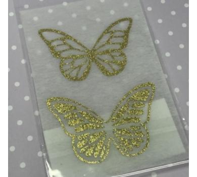 Декоративные элементы для творчества Бабочки, цвет золотой на кремовом, B-004