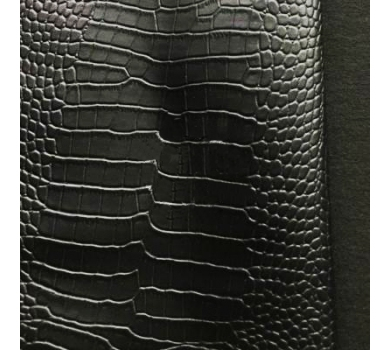 Кожзам с тиснением под рептилию (глянцевый), черный, арт. KA400815