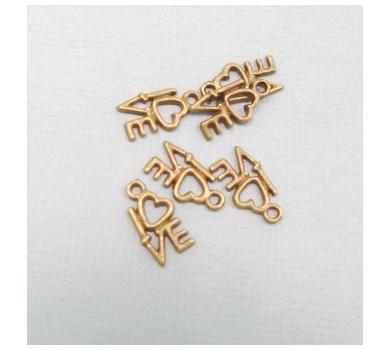 Подвеска металлическая LOVE, цвет - античная бронза, 1,2х0,8 см, KA10116