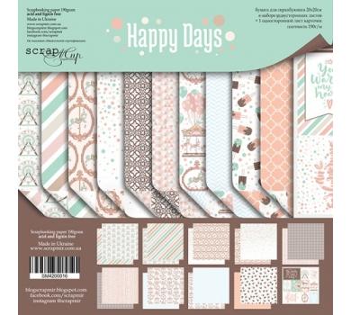 Набор бумаги для скрапбукинга Happy Days, 20х20 см, 190 гр/м, 11 листов, SM4200016