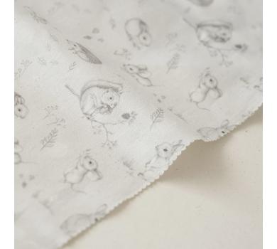 Отрез ткани Forest story Зверята на сером, арт. IMD-003-01