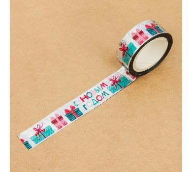 Клейкая лента декоративная голографическая Время подарков, 3488353