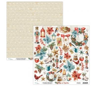 Бумага двусторонняя для скрапбукинга Home for Christmas by Mintaypapers, арт. MT-HFC-09