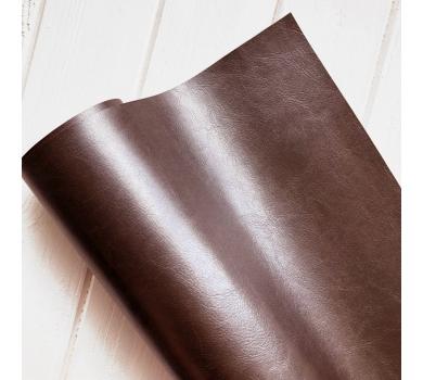 Кожзам (экокожа) на полиуретановой основе глянцевый темно-коричневый с тиснением, арт. 271410