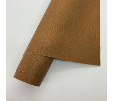 Кожзам (экокожа) на полиуретановой основе с тиснением под питона, цвет корица, арт. SC420049