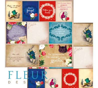 Лист бумаги для скрапбукинга Карточки, коллекция В стране чудес, арт. FD1005211