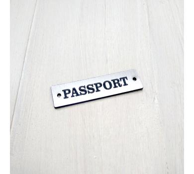 Зеркальная бирка Passport, 55х15 мм, цвет серебро, арт. 123601