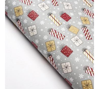 Бумага упаковочная Новогодние подарки, арт. 3862933