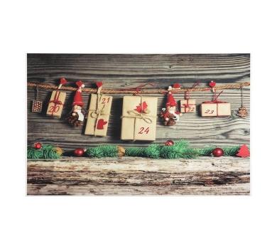 Фотофон виниловый стена+пол Тёмные доски и подарочки на веревке, 3563215