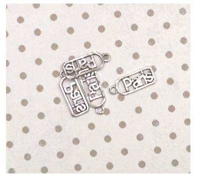 Металлическое украшение ярлык Париж, 2х0,8 см, KA10114