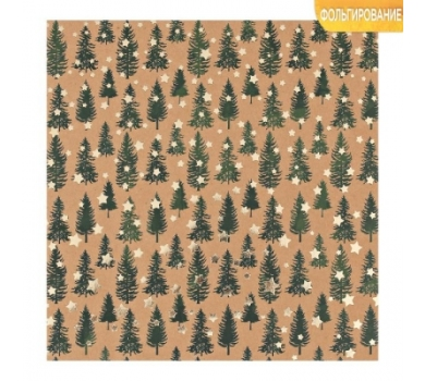 Бумага для скрапбукинга крафтовая односторонняя с фольгированием Сказочный лес, 3401999