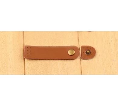 Кожаный хлястик (пришивной) на кнопке, цвет коричневый, 144414