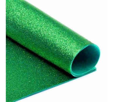 Глиттерный фоамиран зеленый, Арт. H006