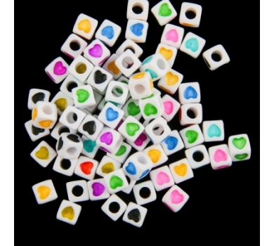 Бусины для творчества Сердечко на кубике разноцветные , Арт. 2504824