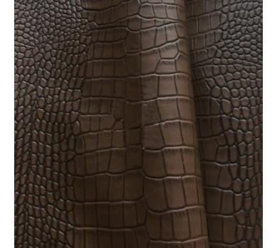 Кожзам с тиснением под рептилию, темно-коричневый, арт. KA420814