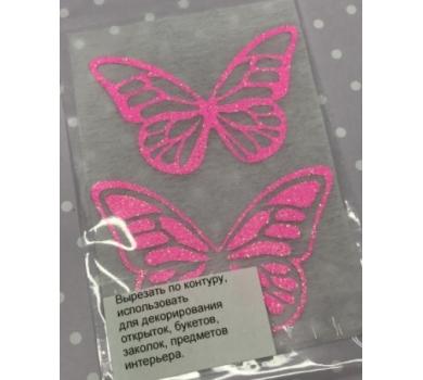 Декоративные элементы для творчества Бабочки, цвет розовый на белом, B-002