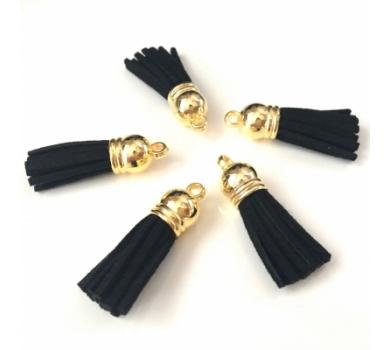 Декоративная кисточка из искусственной замши, черный с золотом, арт. KA105505