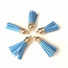 Декоративная кисточка из искусственной замши, голубой с золотом, арт. KA105502