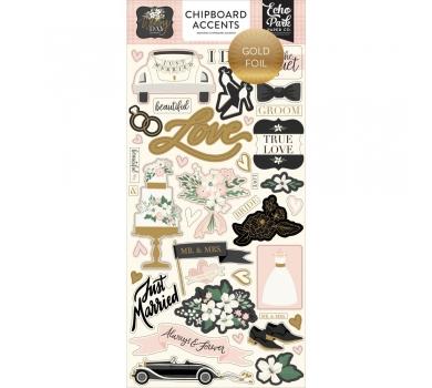 Набор чипборда на клеевой основе с фольгированием Wedding Day, 181021