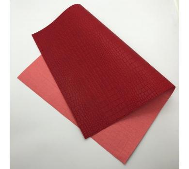 Кожзам (экокожа) на полиуретановой основе с тиснением под крокодила, цвет красный, арт. SC410059