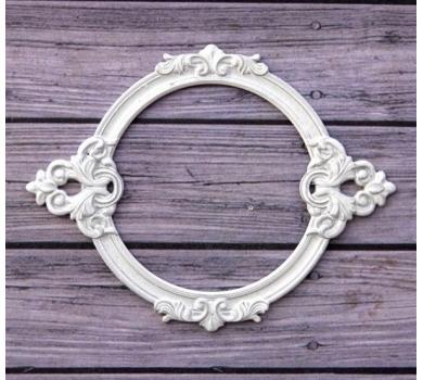 Металлическая рамка для записей Барокко круглая, цвет Белый, ARTPU0127