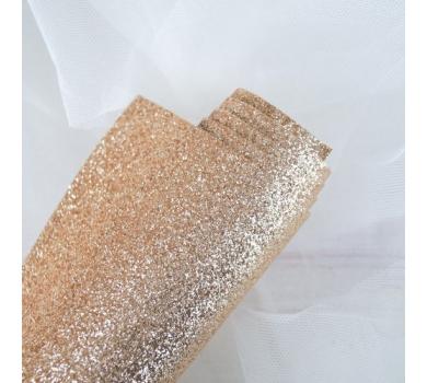 Ткань с глиттером, цвет шампань, SC420512