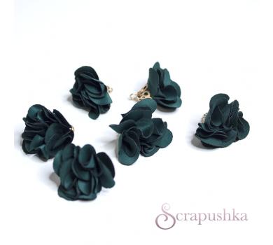 Декоративная кисточка бутончик тканевый, цвет зеленый с золотом, KA105512